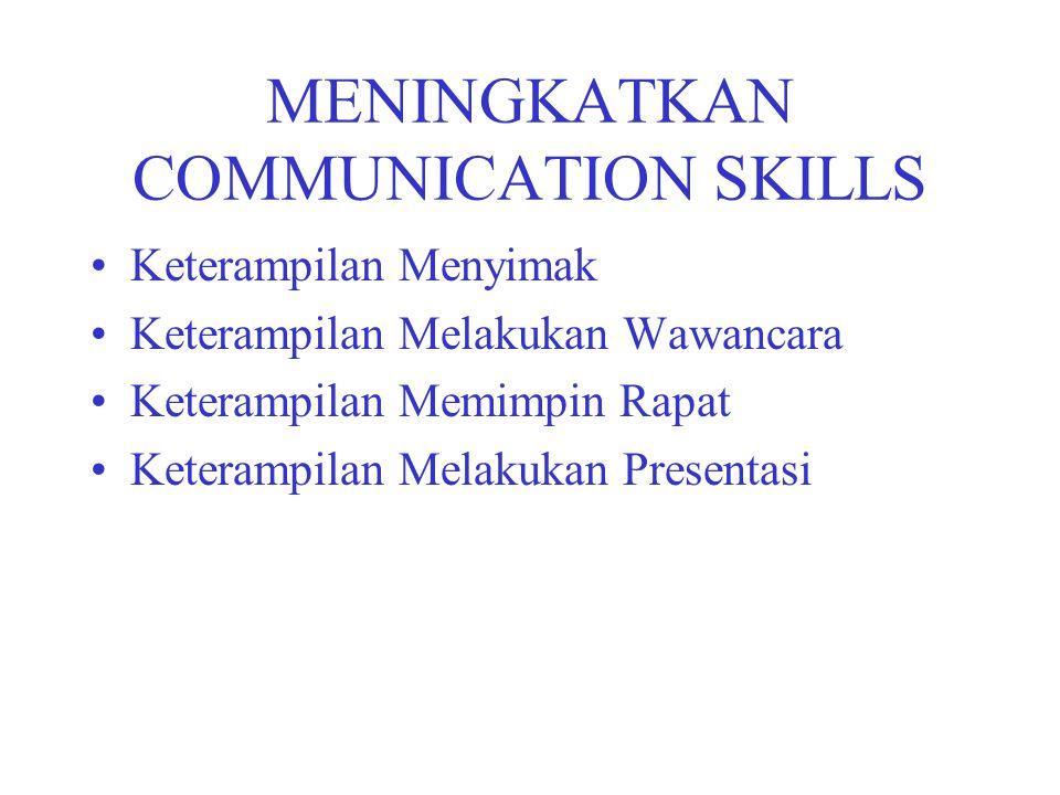 MENINGKATKAN COMMUNICATION SKILLS Keterampilan Menyimak Keterampilan Melakukan Wawancara Keterampilan Memimpin Rapat Keterampilan Melakukan Presentasi
