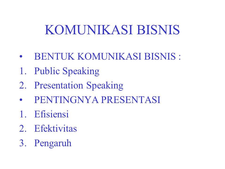 KOMUNIKASI BISNIS BENTUK KOMUNIKASI BISNIS : 1.Public Speaking 2.Presentation Speaking PENTINGNYA PRESENTASI 1.Efisiensi 2.Efektivitas 3.Pengaruh