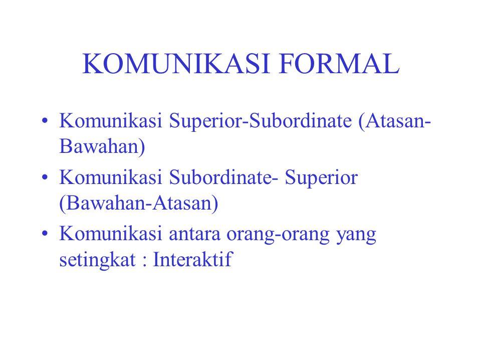 KOMUNIKASI FORMAL Komunikasi Superior-Subordinate (Atasan- Bawahan) Komunikasi Subordinate- Superior (Bawahan-Atasan) Komunikasi antara orang-orang ya