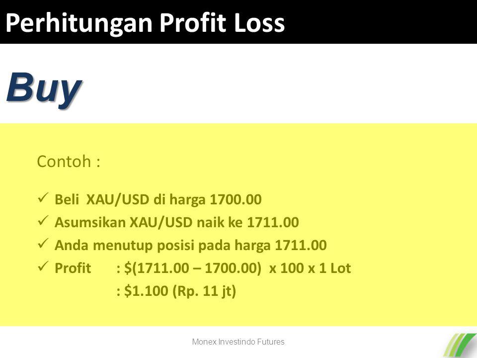 Perhitungan Profit Loss Beli XAU/USD di harga 1700.00 Asumsikan XAU/USD naik ke 1711.00 Anda menutup posisi pada harga 1711.00 Profit : $(1711.00 – 1700.00) x 100 x 1 Lot : $1.100 (Rp.