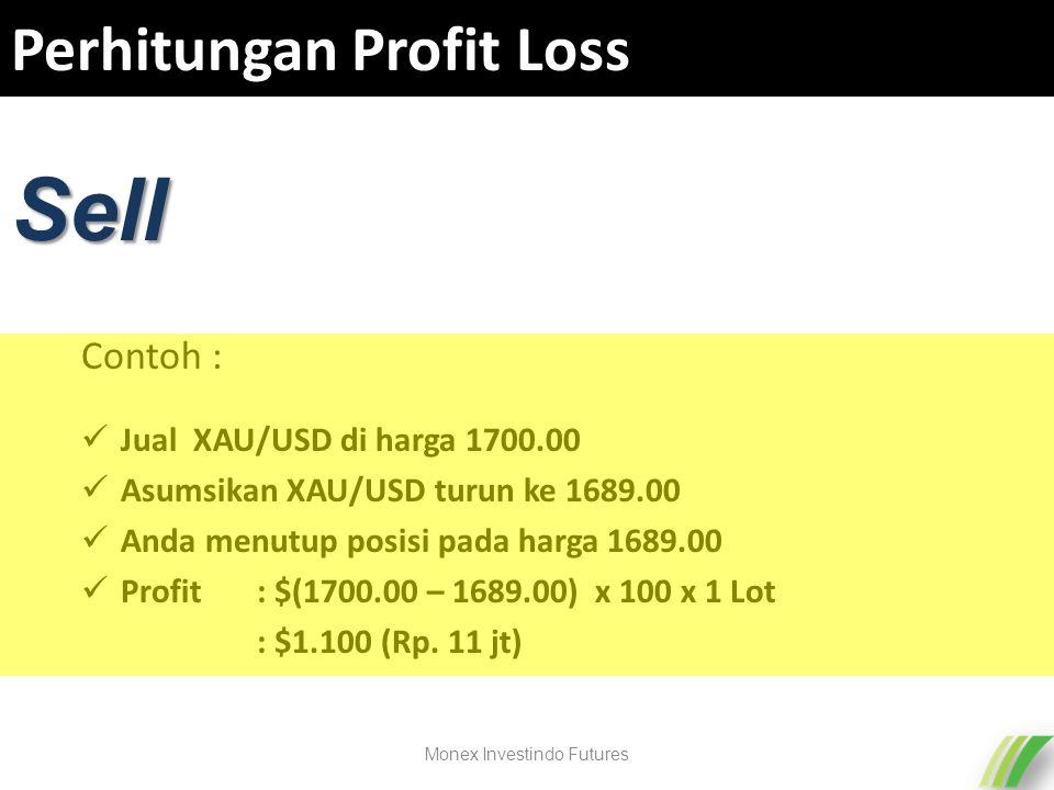 Perhitungan Profit Loss Jual XAU/USD di harga 1700.00 Asumsikan XAU/USD turun ke 1689.00 Anda menutup posisi pada harga 1689.00 Profit : $(1700.00 – 1689.00) x 100 x 1 Lot : $1.100 (Rp.