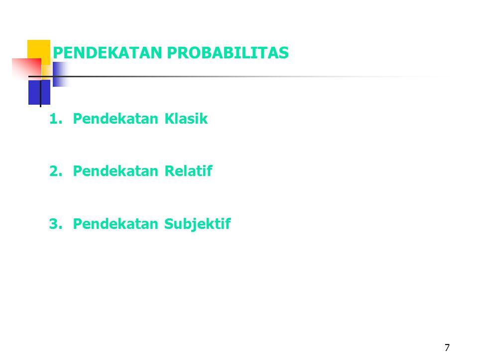 7 PENDEKATAN PROBABILITAS 1.Pendekatan Klasik 2.Pendekatan Relatif 3.Pendekatan Subjektif