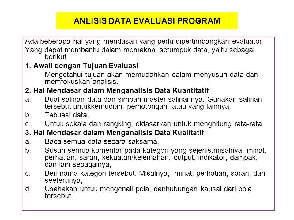 ANLISIS DATA EVALUASI PROGRAM Ada beberapa hal yang mendasari yang perlu dipertimbangkan evaluator Yang dapat membantu dalam memaknai setumpuk data, y