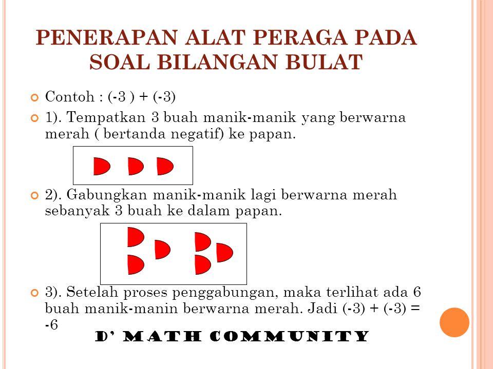 PENERAPAN ALAT PERAGA PADA SOAL BILANGAN BULAT Contoh : (-3 ) + (-3) 1). Tempatkan 3 buah manik-manik yang berwarna merah ( bertanda negatif) ke papan