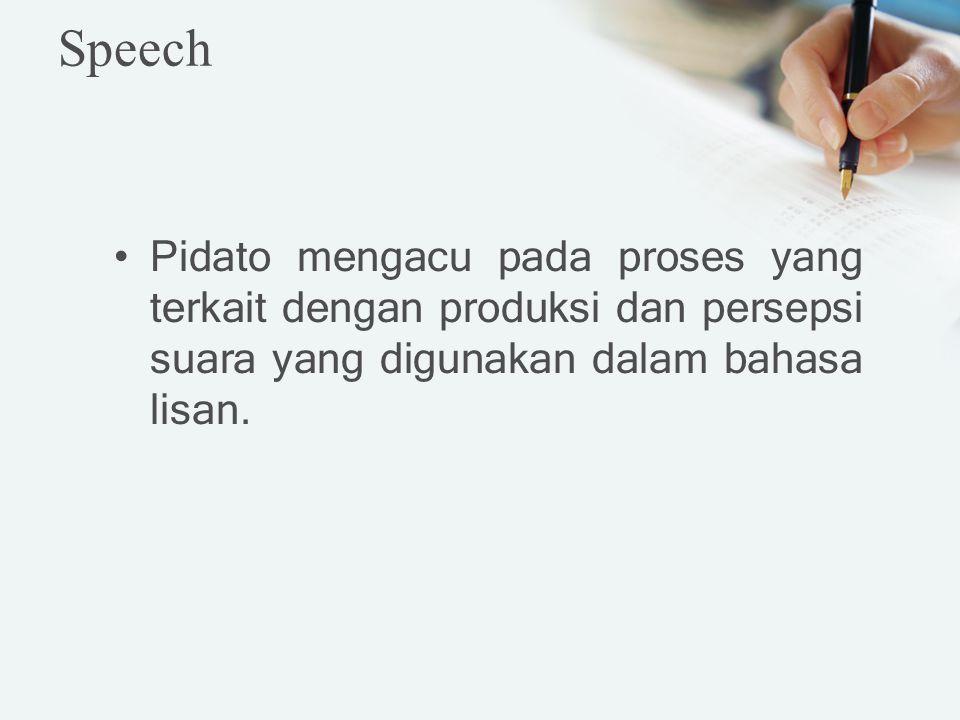 Pidato mengacu pada proses yang terkait dengan produksi dan persepsi suara yang digunakan dalam bahasa lisan. Speech