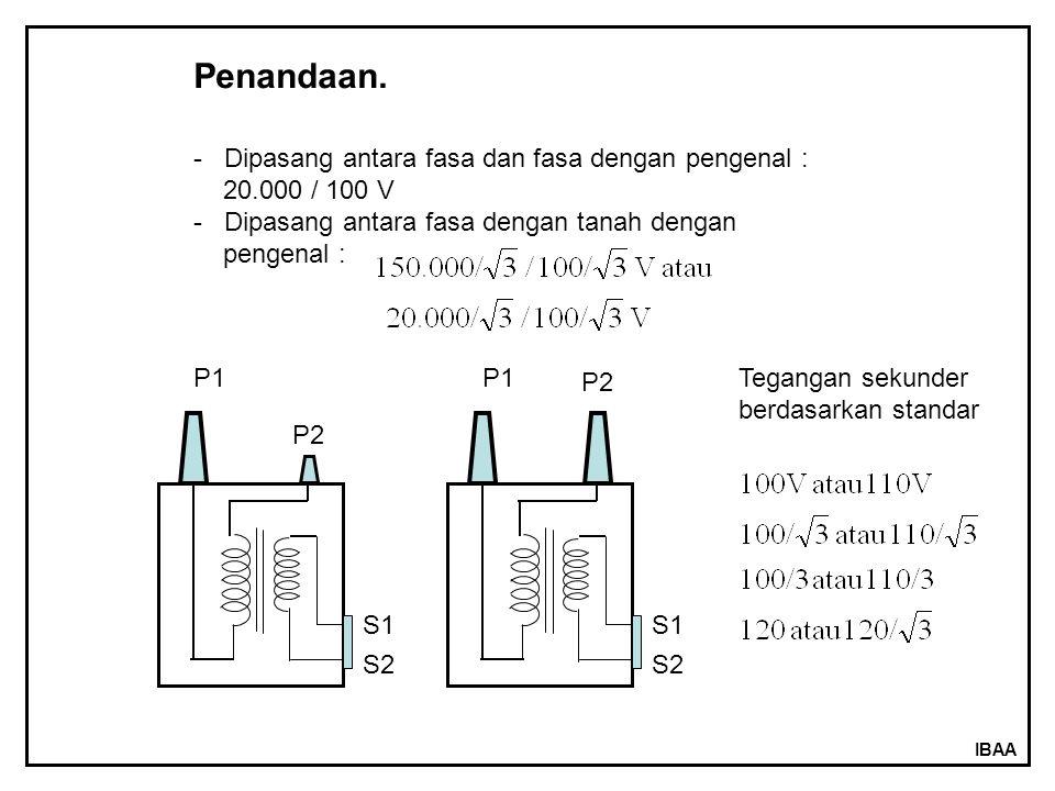 IBAA Penandaan. - Dipasang antara fasa dan fasa dengan pengenal : 20.000 / 100 V - Dipasang antara fasa dengan tanah dengan pengenal : P1 P2 S2 S1 P1