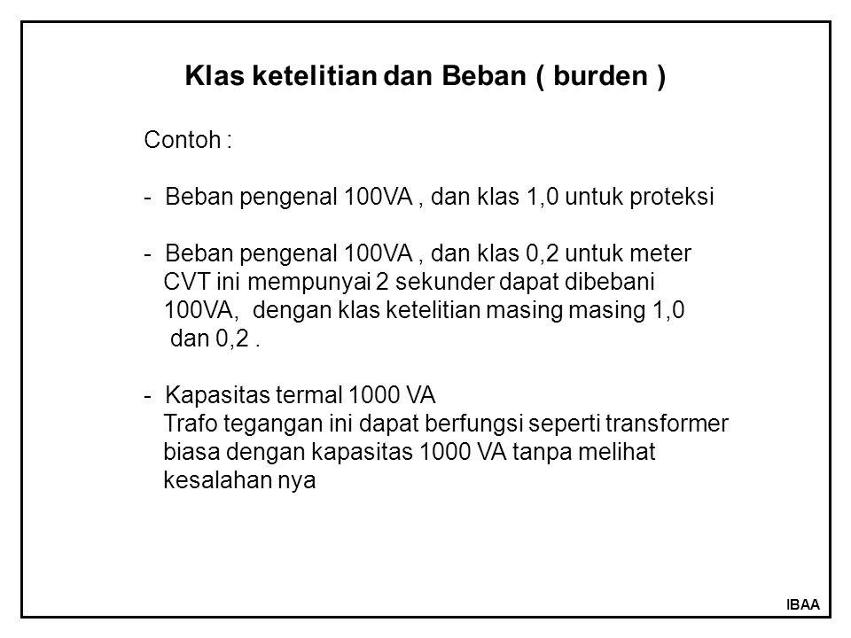 IBAA Klas ketelitian dan Beban ( burden ) Contoh : - Beban pengenal 100VA, dan klas 1,0 untuk proteksi - Beban pengenal 100VA, dan klas 0,2 untuk mete
