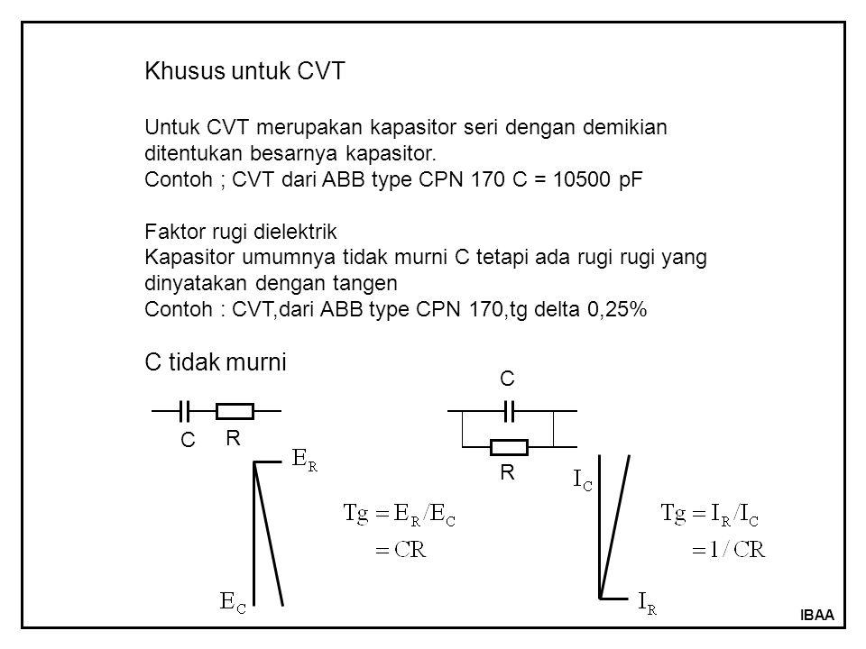 IBAA Khusus untuk CVT Untuk CVT merupakan kapasitor seri dengan demikian ditentukan besarnya kapasitor. Contoh ; CVT dari ABB type CPN 170 C = 10500 p