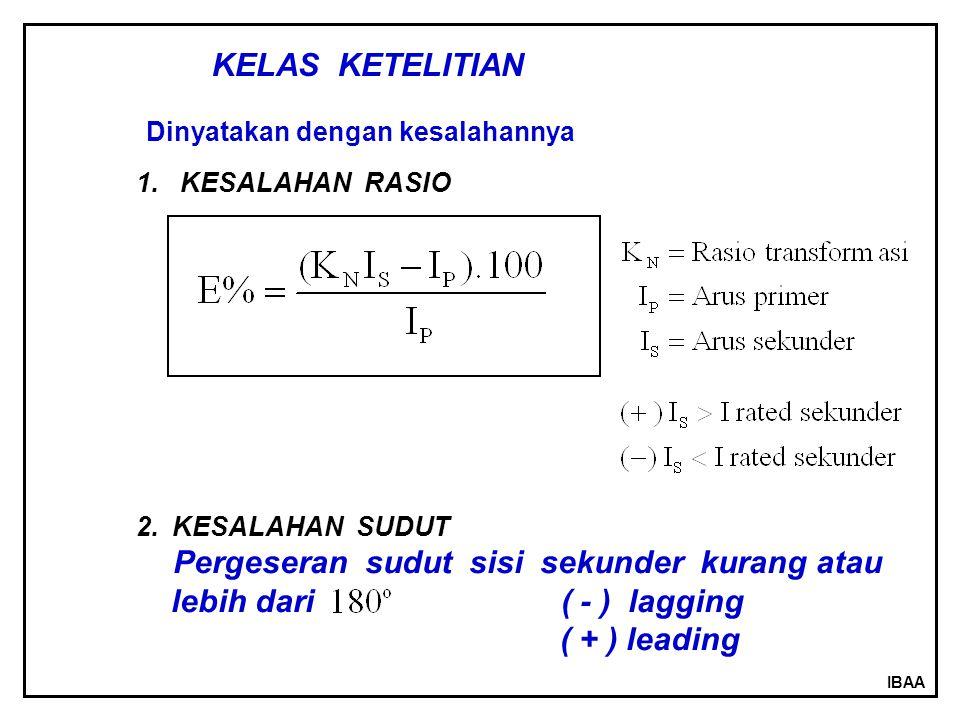 IBAA KELAS KETELITIAN Dinyatakan dengan kesalahannya 1. KESALAHAN RASIO 2.KESALAHAN SUDUT Pergeseran sudut sisi sekunder kurang atau lebih dari ( - )
