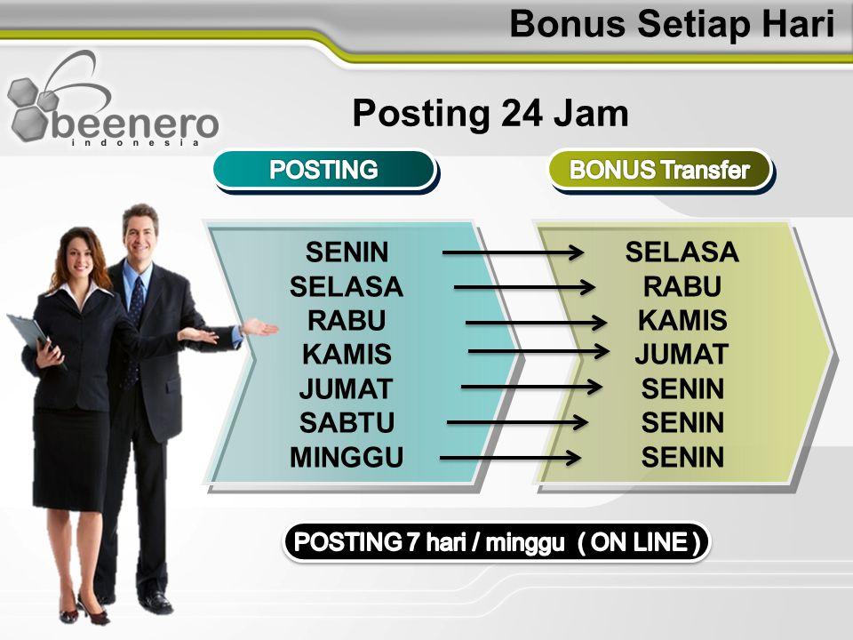 3 Jenis Bonus BEENERO INDONESIA SPONSOR ( Harian ) LEADERSHP ( Harian ) UNILEVEL ( Bulanan ) Perhitungan Bonus Yang Mudah