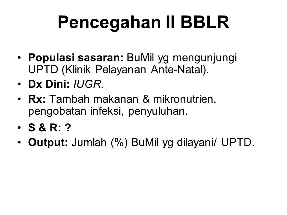 Pencegahan II BBLR Populasi sasaran: BuMil yg mengunjungi UPTD (Klinik Pelayanan Ante-Natal). Dx Dini: IUGR. Rx: Tambah makanan & mikronutrien, pengob