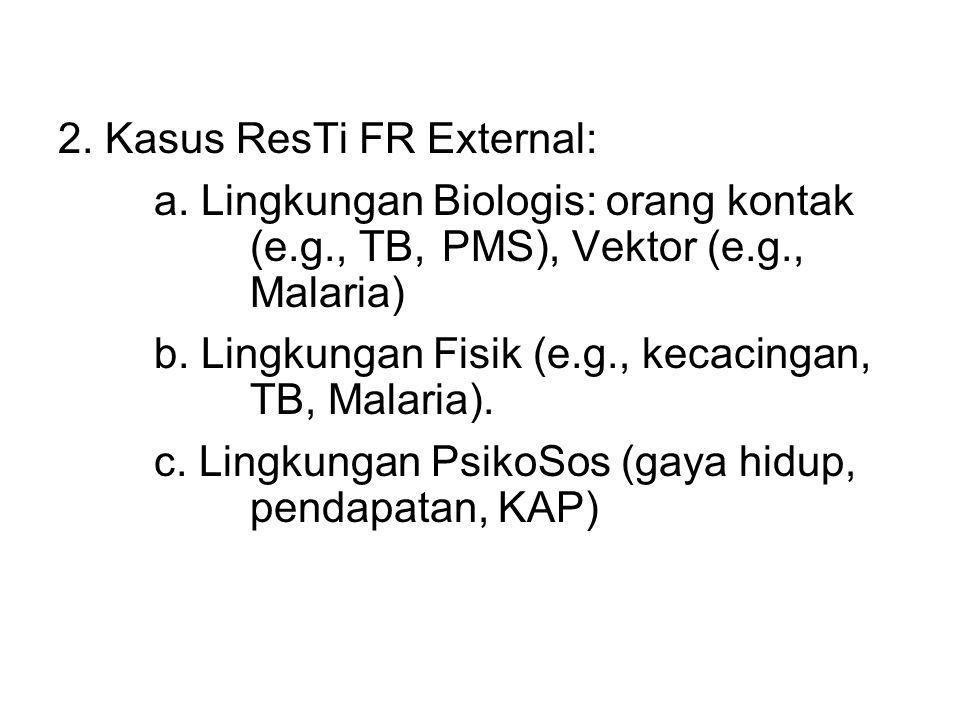 2. Kasus ResTi FR External: a. Lingkungan Biologis: orang kontak (e.g., TB, PMS), Vektor (e.g., Malaria) b. Lingkungan Fisik (e.g., kecacingan, TB, Ma