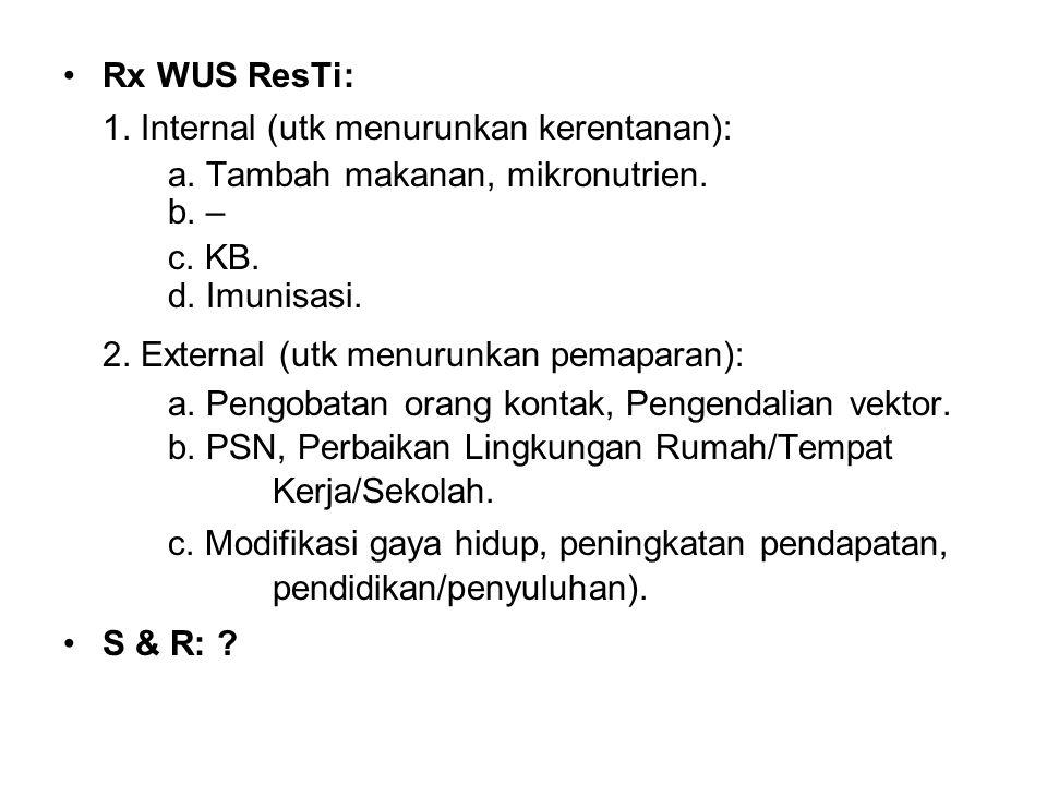 Rx WUS ResTi: 1. Internal (utk menurunkan kerentanan): a. Tambah makanan, mikronutrien. b. – c. KB. d. Imunisasi. 2. External (utk menurunkan pemapara