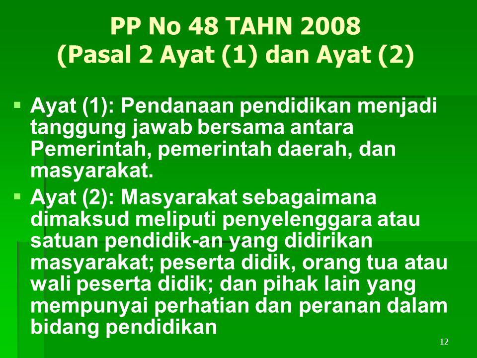 PP No 48 TAHN 2008 (Pasal 2 Ayat (1) dan Ayat (2)   Ayat (1): Pendanaan pendidikan menjadi tanggung jawab bersama antara Pemerintah, pemerintah daerah, dan masyarakat.