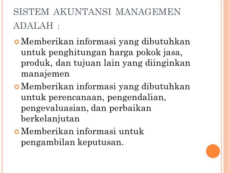  Informasi akuntansi penuh (Full Accounting Information)  Informasi akuntansi diferensial (Differential Accounting Information)  Informasi akuntansi pertanggungjawaban (Responbility Accounting Information)