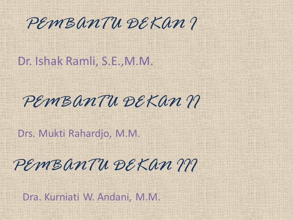 PEMBANTU DEKAN I Dr. Ishak Ramli, S.E.,M.M. PEMBANTU DEKAN II PEMBANTU DEKAN III Drs. Mukti Rahardjo, M.M. Dra. Kurniati W. Andani, M.M.