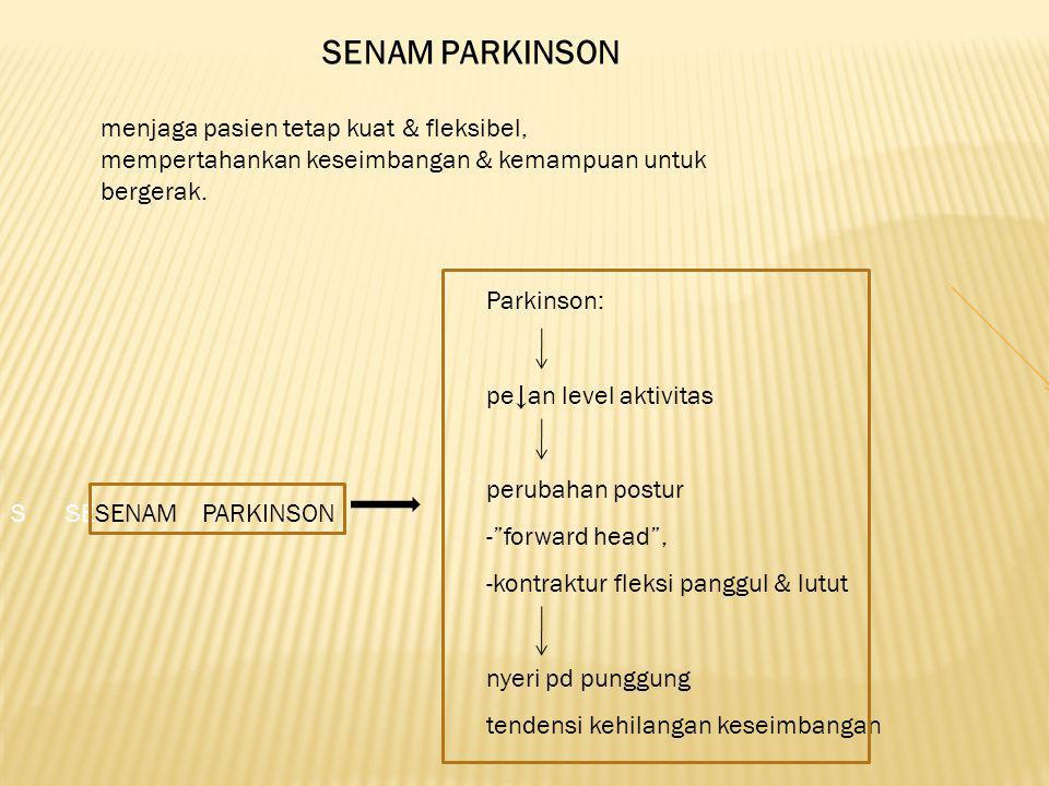 SENAM PARKINSON menjaga pasien tetap kuat & fleksibel, mempertahankan keseimbangan & kemampuan untuk bergerak. Parkinson: pe↓an level aktivitas peruba