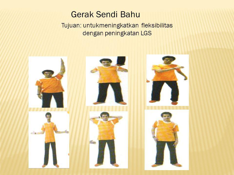 Gerak Sendi Bahu Tujuan: untukmeningkatkan fleksibilitas dengan peningkatan LGS