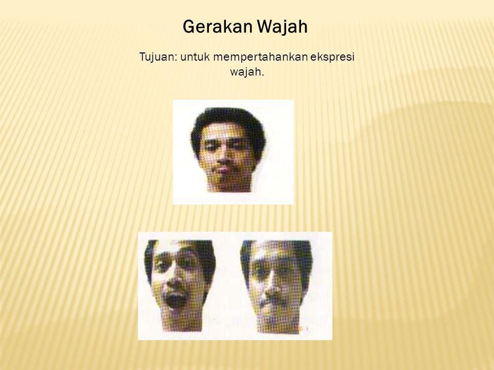 Gerakan Wajah Tujuan: untuk mempertahankan ekspresi wajah.