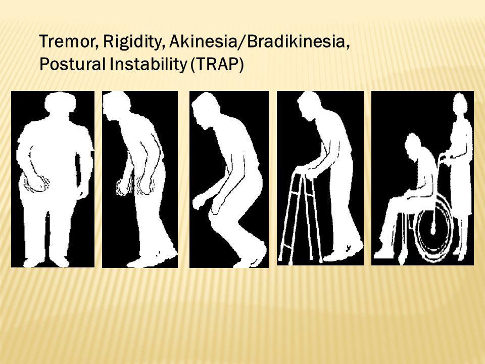 Tremor Rest tremor, postural tremor Kasar, 3-7 getaran / detik Tangan, kaki, badan, bibir