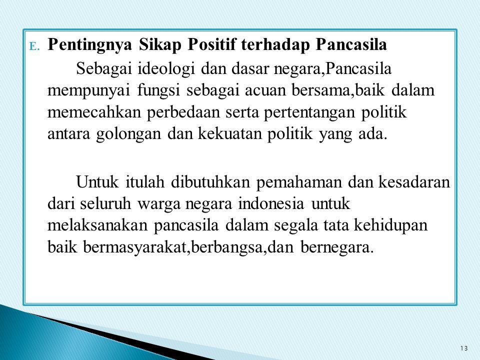 E. Pentingnya Sikap Positif terhadap Pancasila Sebagai ideologi dan dasar negara,Pancasila mempunyai fungsi sebagai acuan bersama,baik dalam memecahka