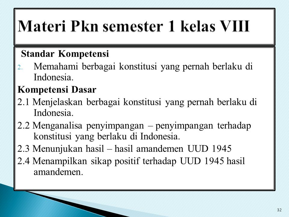 Standar Kompetensi 2. Memahami berbagai konstitusi yang pernah berlaku di Indonesia. Kompetensi Dasar 2.1 Menjelaskan berbagai konstitusi yang pernah