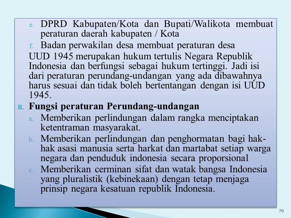 e. DPRD Kabupaten/Kota dan Bupati/Walikota membuat peraturan daerah kabupaten / Kota f. Badan perwakilan desa membuat peraturan desa UUD 1945 merupaka