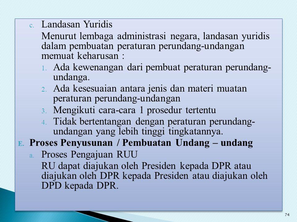 c. Landasan Yuridis Menurut lembaga administrasi negara, landasan yuridis dalam pembuatan peraturan perundang-undangan memuat keharusan : 1. Ada kewen