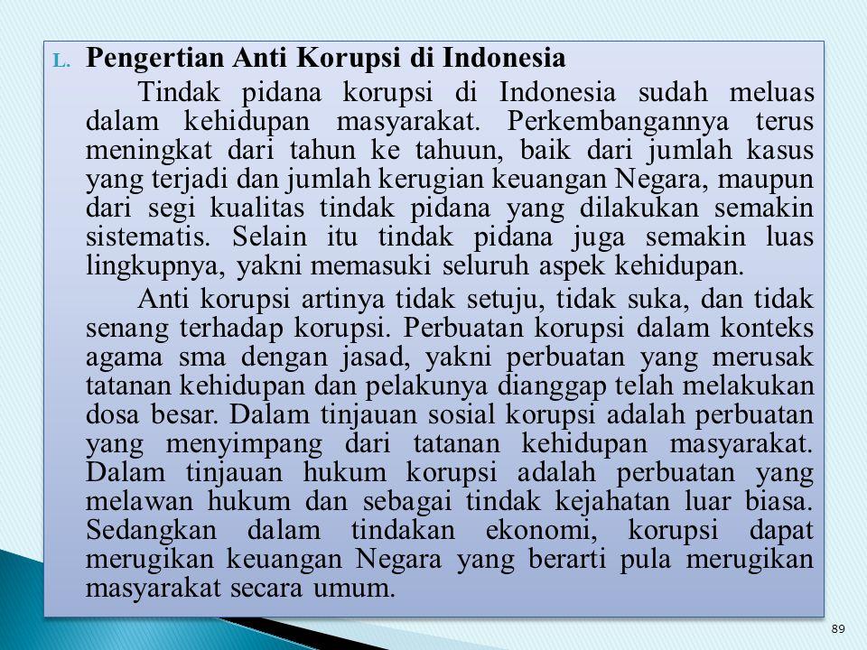 L. Pengertian Anti Korupsi di Indonesia Tindak pidana korupsi di Indonesia sudah meluas dalam kehidupan masyarakat. Perkembangannya terus meningkat da