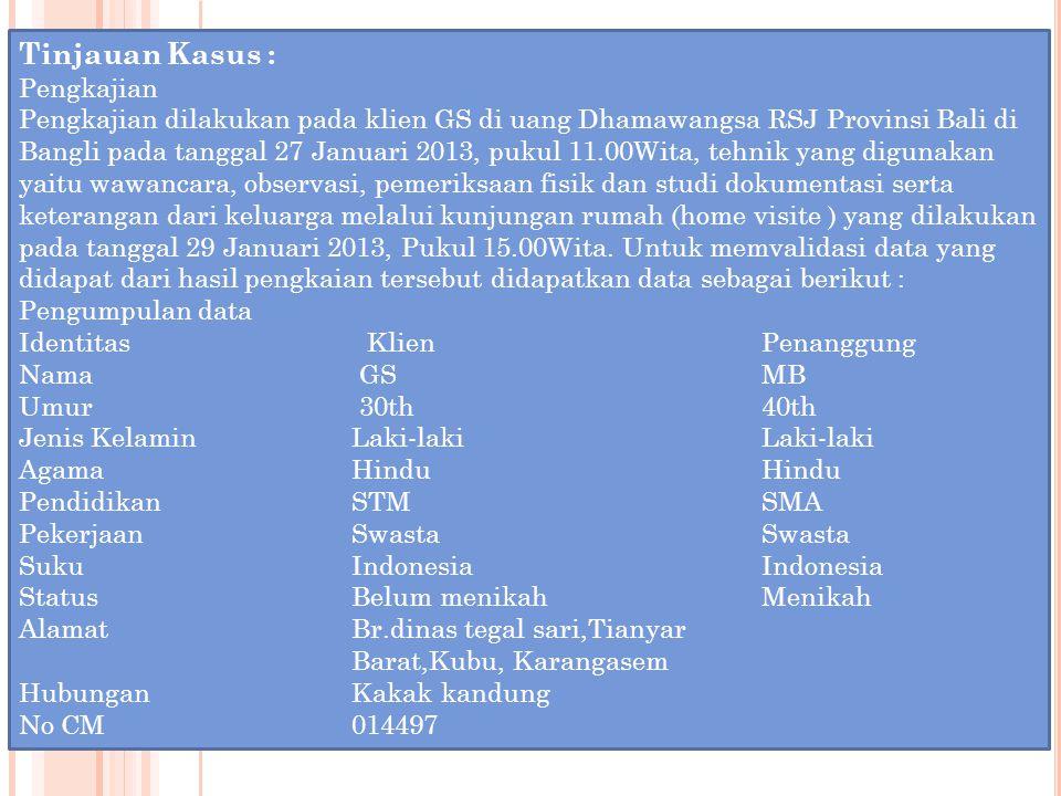 Tinjauan Kasus : Pengkajian Pengkajian dilakukan pada klien GS di uang Dhamawangsa RSJ Provinsi Bali di Bangli pada tanggal 27 Januari 2013, pukul 11.