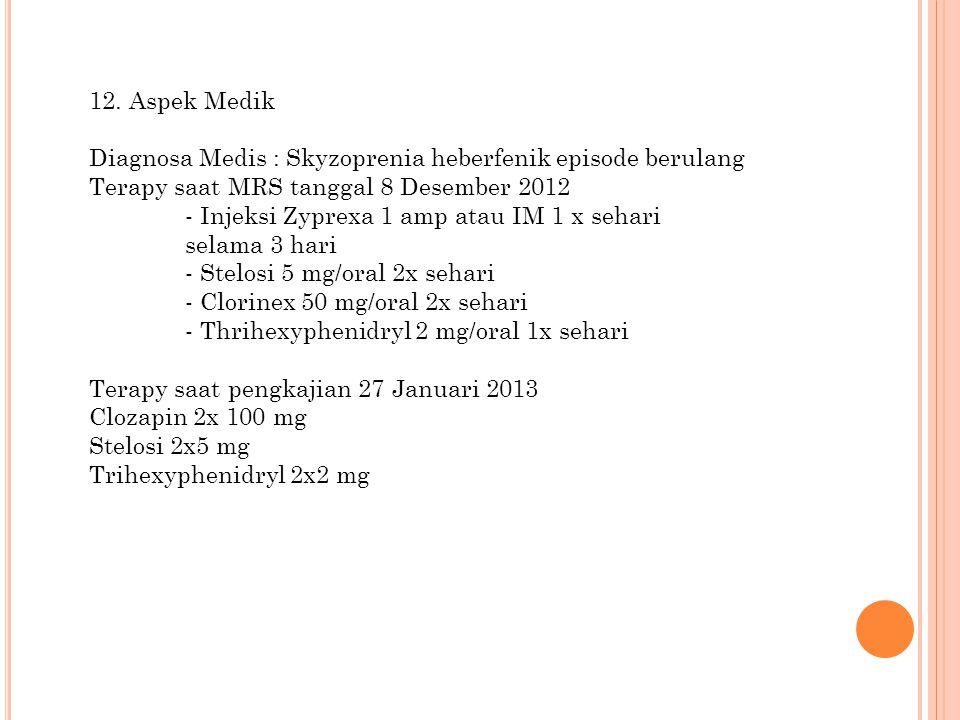 12. Aspek Medik Diagnosa Medis : Skyzoprenia heberfenik episode berulang Terapy saat MRS tanggal 8 Desember 2012 - Injeksi Zyprexa 1 amp atau IM 1 x s