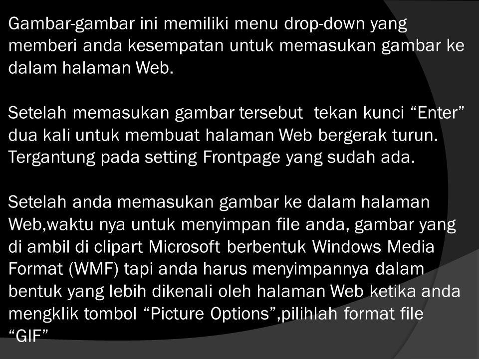 Gambar-gambar ini memiliki menu drop-down yang memberi anda kesempatan untuk memasukan gambar ke dalam halaman Web.