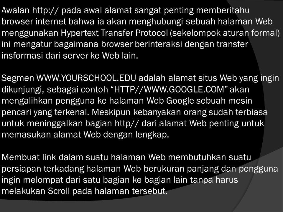 Awalan http:// pada awal alamat sangat penting memberitahu browser internet bahwa ia akan menghubungi sebuah halaman Web menggunakan Hypertext Transfer Protocol (sekelompok aturan formal) ini mengatur bagaimana browser berinteraksi dengan transfer insformasi dari server ke Web lain.