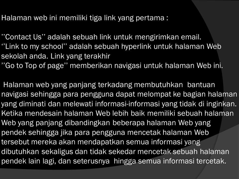 Halaman web ini memiliki tiga link yang pertama : ''Contact Us'' adalah sebuah link untuk mengirimkan email.