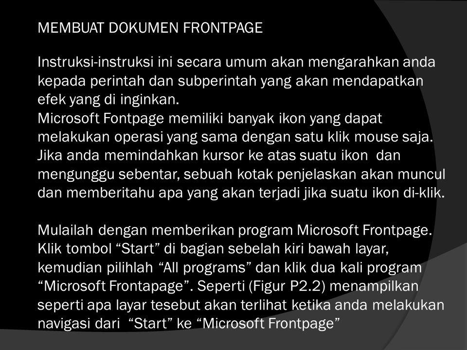 Berikut P2.2 (Memulai Microsoft Frontpage)