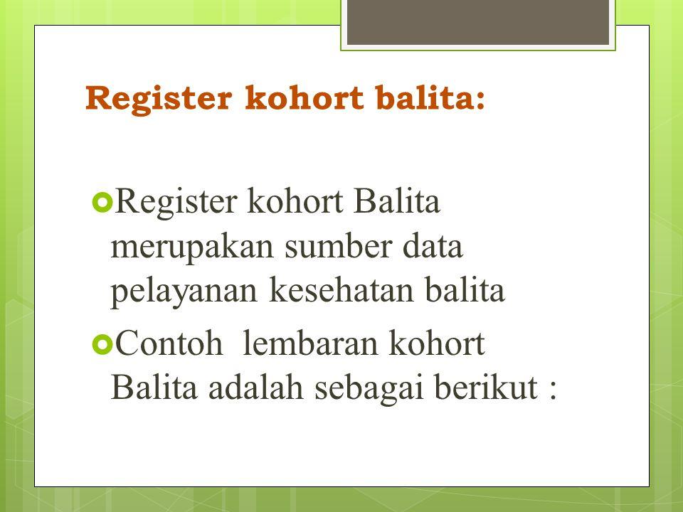 Register kohort bayi  Register kohort bayi merupakan sumber data pelayanan kesehatan bayi termasuk neonatal.  Contoh lembaran kohort bayi adalah seb