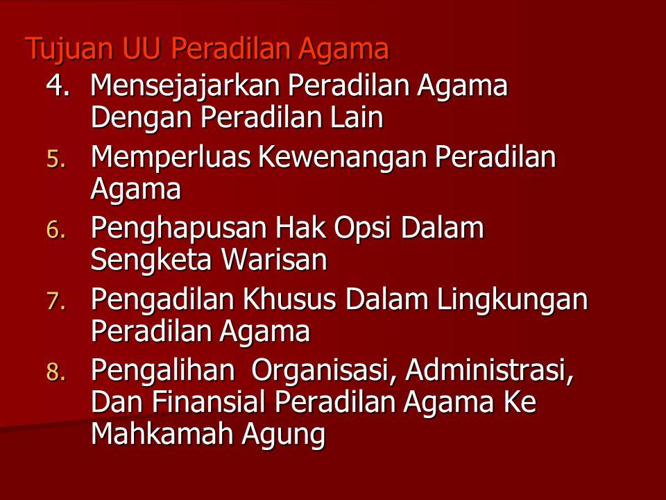 4. Mensejajarkan Peradilan Agama Dengan Peradilan Lain 5. Memperluas Kewenangan Peradilan Agama 6. Penghapusan Hak Opsi Dalam Sengketa Warisan 7. Peng