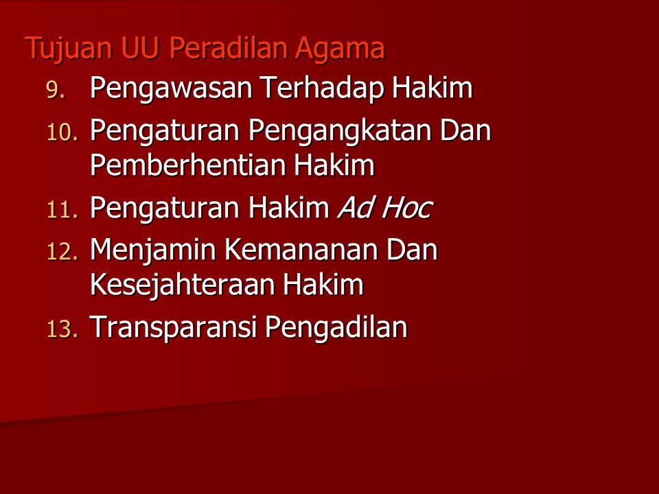 9. Pengawasan Terhadap Hakim 10. Pengaturan Pengangkatan Dan Pemberhentian Hakim 11. Pengaturan Hakim Ad Hoc 12. Menjamin Kemananan Dan Kesejahteraan