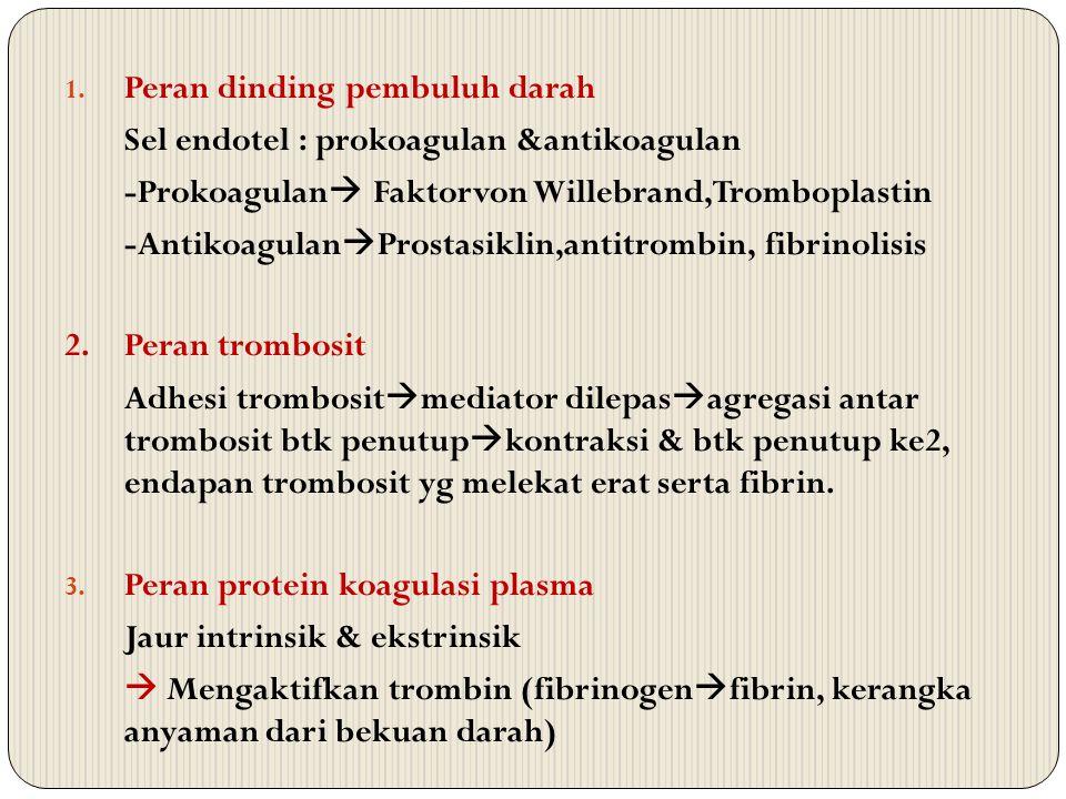 1. Peran dinding pembuluh darah Sel endotel : prokoagulan &antikoagulan -Prokoagulan  Faktorvon Willebrand,Tromboplastin -Antikoagulan  Prostasiklin