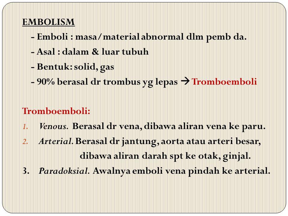 EMBOLISM - Emboli : masa/material abnormal dlm pemb da. - Asal : dalam & luar tubuh - Bentuk: solid, gas - 90% berasal dr trombus yg lepas  Tromboemb