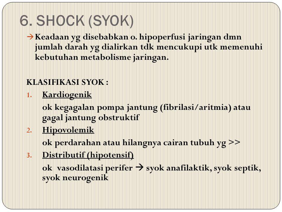 6. SHOCK (SYOK)  Keadaan yg disebabkan o. hipoperfusi jaringan dmn jumlah darah yg dialirkan tdk mencukupi utk memenuhi kebutuhan metabolisme jaringa