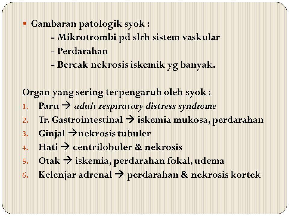 Gambaran patologik syok : - Mikrotrombi pd slrh sistem vaskular - Perdarahan - Bercak nekrosis iskemik yg banyak. Organ yang sering terpengaruh oleh s