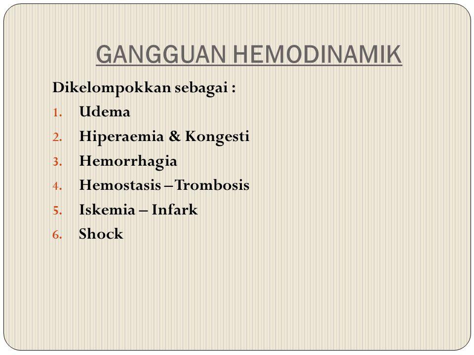 GANGGUAN HEMODINAMIK Dikelompokkan sebagai : 1. Udema 2. Hiperaemia & Kongesti 3. Hemorrhagia 4. Hemostasis – Trombosis 5. Iskemia – Infark 6. Shock