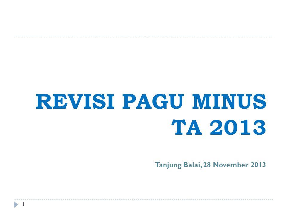 REVISI PAGU MINUS TA 2013 1 Tanjung Balai, 28 November 2013