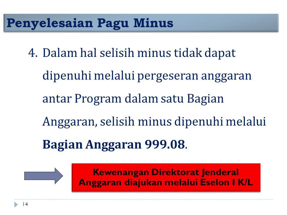 Penyelesaian Pagu Minus 4.Dalam hal selisih minus tidak dapat dipenuhi melalui pergeseran anggaran antar Program dalam satu Bagian Anggaran, selisih m