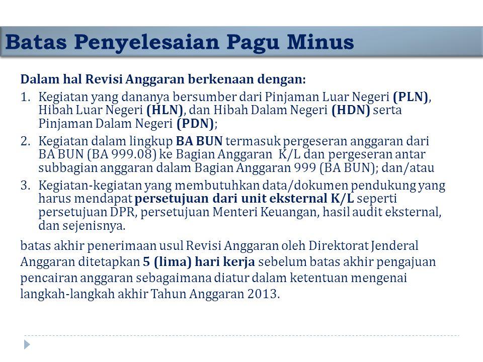 Dalam hal Revisi Anggaran berkenaan dengan: 1.Kegiatan yang dananya bersumber dari Pinjaman Luar Negeri (PLN), Hibah Luar Negeri (HLN), dan Hibah Dala