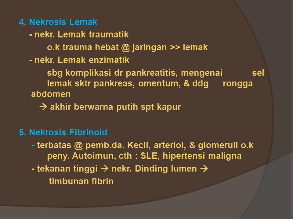 4.Nekrosis Lemak - nekr. Lemak traumatik o.k trauma hebat @ jaringan >> lemak - nekr.