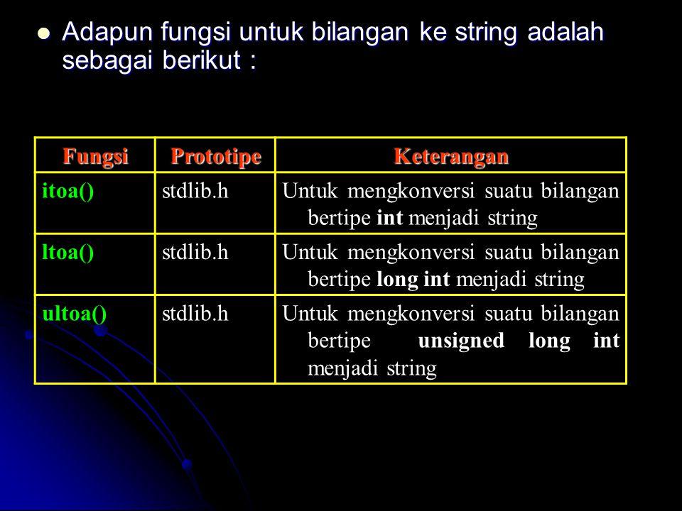 Adapun fungsi untuk bilangan ke string adalah sebagai berikut : Adapun fungsi untuk bilangan ke string adalah sebagai berikut : FungsiPrototipeKeteran