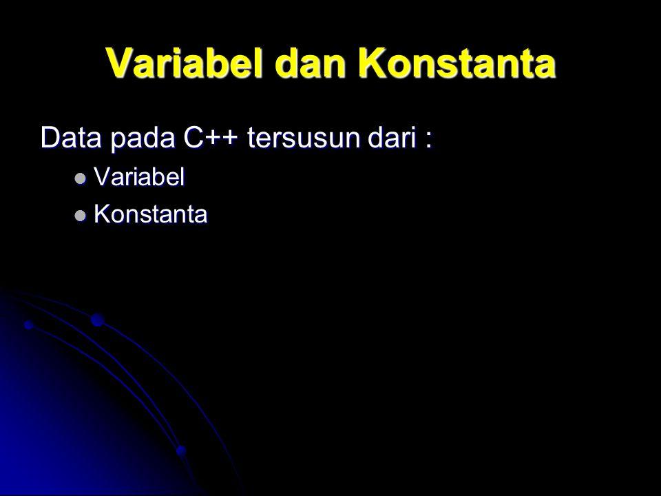 Variabel dan Konstanta Data pada C++ tersusun dari : Variabel Variabel Konstanta Konstanta