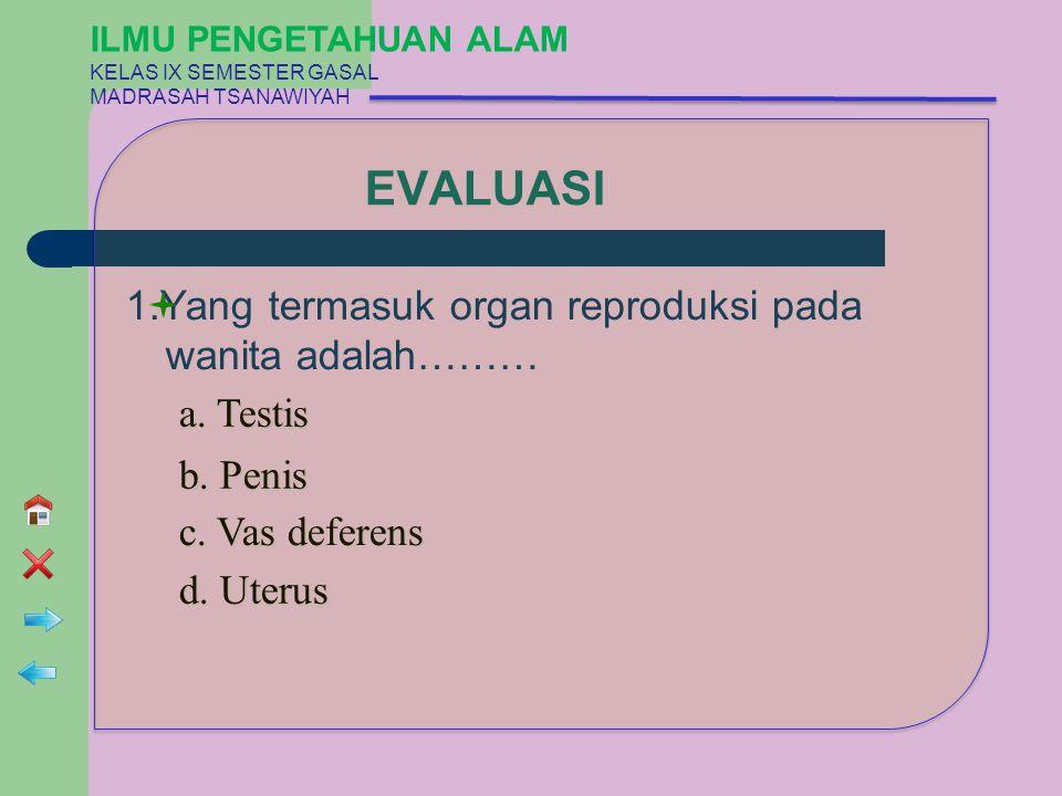 EVALUASI 1.Yang termasuk organ reproduksi pada wanita adalah……… a. Testis a. Testis b. Penis b. Penis c. Vas deferens c. Vas deferens d. Uterus d. Ute